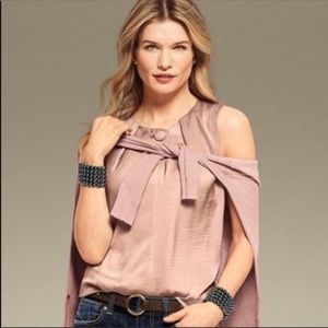 NEW CAbi Rose Gold Button Blouse